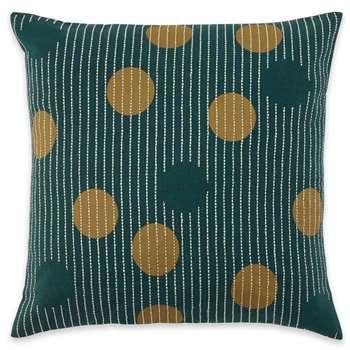 Kaligula Embroidered Circles Cushion, Agean Blue (H45 x W45cm)