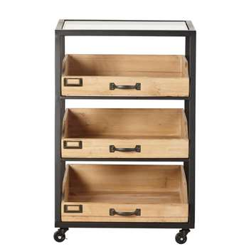 KANT Black Metal and Fir 3-Drawer Shelving Unit (H70 x W46 x D42.5cm)
