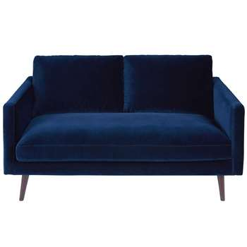 KANT Midnight Blue 2-Seater Velvet Sofa (H86 x W165 x D95cm)