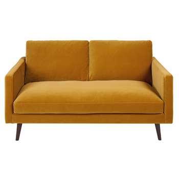 KANT Mustard Yellow 2-Seater Velvet Sofa (H86 x W165 x D95cm)