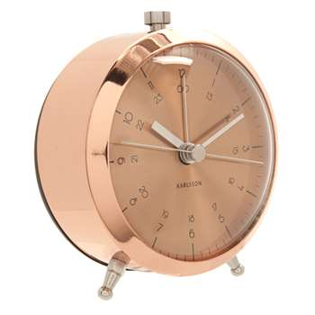 Karlsson Button Alarm Clock - Copper (9cm Diameter)