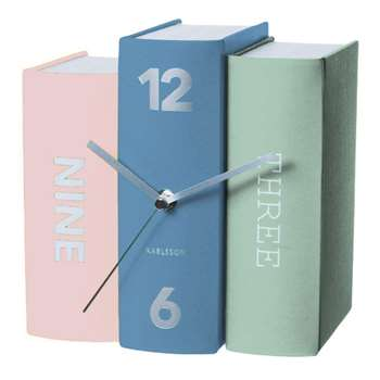 Karlsson Book Table Clock - Pastel Tones (Width 20cm)