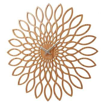 Karlsson MDF Wood Finish Sunflower Clock (Diameter 60cm)
