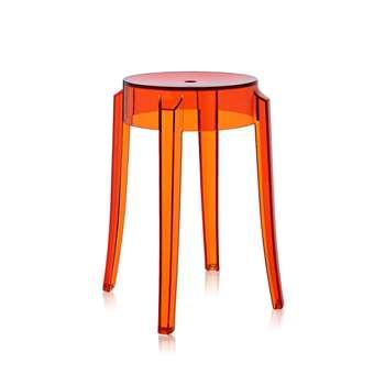 Kartell - Charles Ghost Stool - Orange - 46cm (H45.5 x W45.5 x D45.5cm)