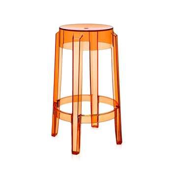 Kartell - Charles Ghost Stool - Orange - 65cm (H64.5 x W45.5 x D45.5cm)