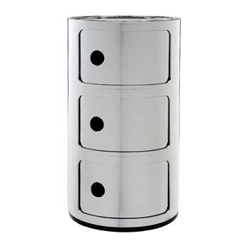 Kartell - Componibili Storage Unit - Chrome - Large (H58.5 x D32cm)