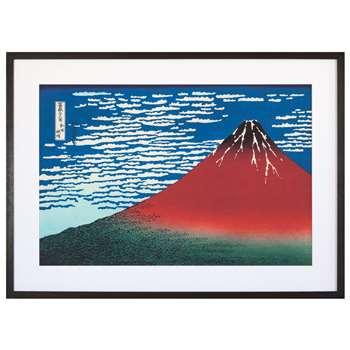 Katsushika Hokusai - Red Fuji, Grey Painted Ash Framed Print (H56 x W73.6 x D3cm)