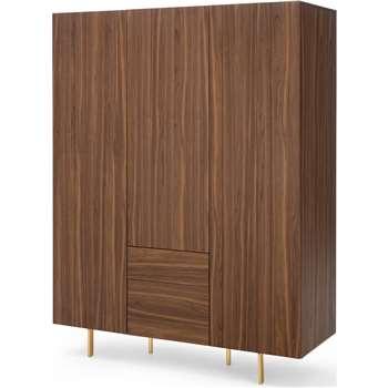 Keaton 3 Door Wardrobe, Walnut & Brass (H200 x W155 x D57cm)