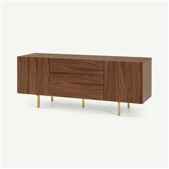 Keaton Sideboard, Walnut & Brass (H67 x W170 x D46cm)