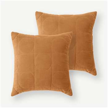 Keeble Set of 2 Velvet Cushions, Cinnamon (H45 x W45cm)