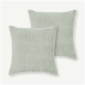 Keeble Set of 2 Velvet Cushions, Sage Green (H45 x W45cm)