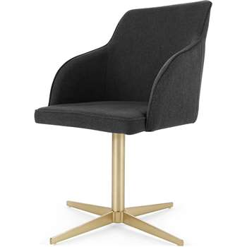 Keira Office Chair, Flint Grey and Brass (H84 x W55 x D55cm)
