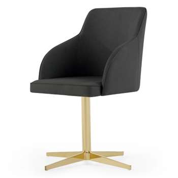 Keira Office Chair, Grey and Brass (84 x 55cm)