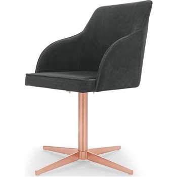 Keira Office Chair, Midnight Grey Velvet and Copper (H84 x W55 x D55cm)