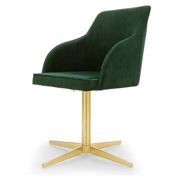Keira Office Chair, Pine Green Velvet and Brass (H84 x W55 x D55cm)