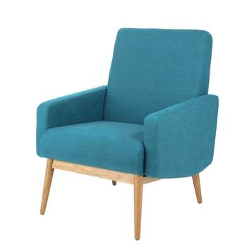 KELTON Fabric vintage armchair in petrol blue