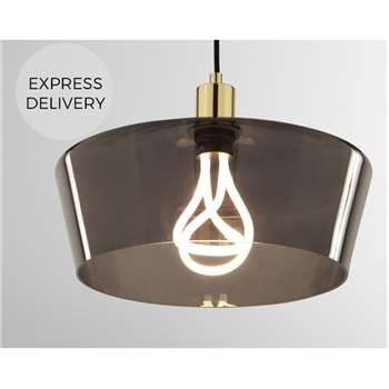 Kem Pendant Light and Plumen 001 LED Bulb, Smoke Grey Glass and Brass (H122 x W34 x D34cm)