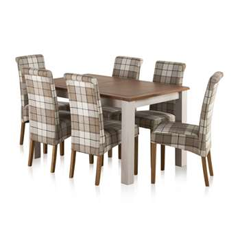 Kemble Rustic Solid Oak and Painted 4ft 7inches x 3ft Extending Dining, Checked Brown (H78 x W140 x D90cm)