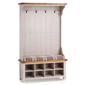 Kemble Rustic Solid Oak & Painted Hallway Unit, Checked Brown (H197 x W121 x D40cm)