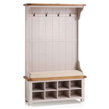 Kemble Rustic Solid Oak & Painted Hallway Unit, Plain Beige (H197 x W121 x D40cm)