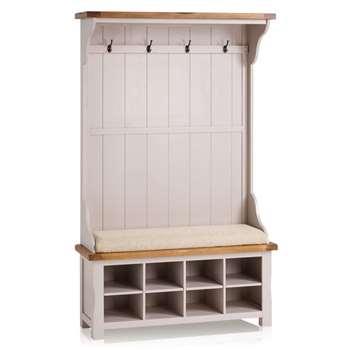 Kemble Rustic Solid Oak & Painted Hallway Unit, Plain Beige (H197 x W121 x D40cm)