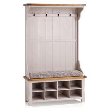 Kemble Rustic Solid Oak & Painted Hallway Unit, Plain Truffle (H197 x W121 x D40cm)