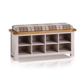 Kemble Rustic Solid Oak & Painted Shoe Storage, Check Brown (H52 x W121 x D40cm)