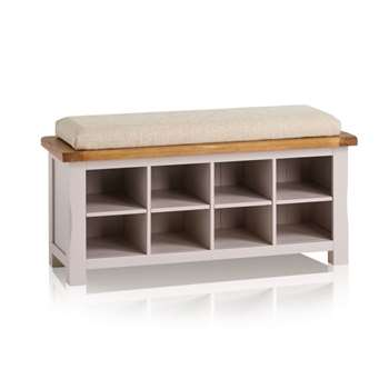Kemble Rustic Solid Oak & Painted Shoe Storage, Plain Beige (H52 x W121 x D40cm)