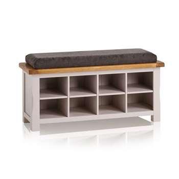 Kemble Rustic Solid Oak & Painted Shoe Storage, Plain Charcoal (H52 x W121 x D40cm)