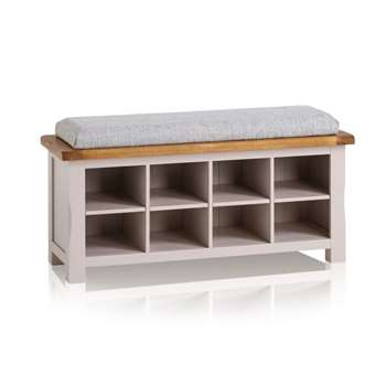 Kemble Rustic Solid Oak & Painted Shoe Storage, Plain Grey (H52 x W121 x D40cm)