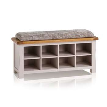 Kemble Rustic Solid Oak & Painted Shoe Storage, Plain Truffle (H52 x W121 x D40cm)