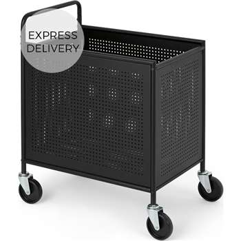 Kennedi Perforated Metal Extra Large Laundry Cart, Black (H78 x W60 x D40cm)