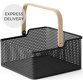 Kennedi Perforated Metal Square Storage Basket, Black (H164 x W58 x D39cm)