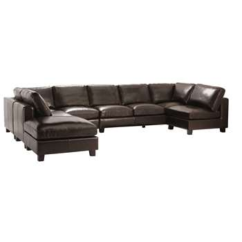KENNEDY 7 seater split leather U-shaped corner sofa in chocolate
