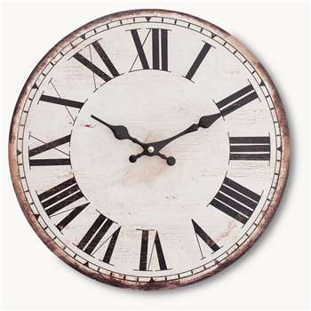Kentfield Antique White Wall Clock with Roman Numerals (34 x 34cm)