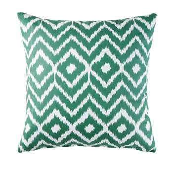 KENTIA Outdoor Cushion in White Cotton with Graphic Print (H45 x W45 x D10cm)
