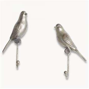 Kenton Set of 2 Bird Hooks in Antique Finish (21 x 10cm)
