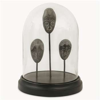 Kenton Standing Masks in Glass Cloche (H23 x W17.7 x D17.7cm)