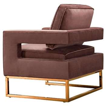 Kenza Armchair Blush Pink - Rose gold base (H96 x W76 x D75cm)