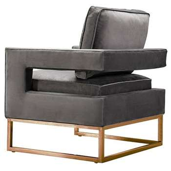 Kenza Armchair Dove Grey - Rose gold base (H96 x W76 x D75cm)