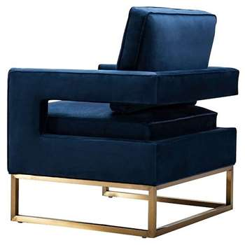 Kenza Armchair Navy Blue - brushed gold base (H96 x W76 x D75cm)