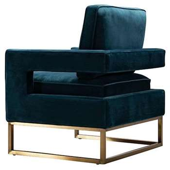 Kenza Armchair Peacock - brushed gold base (H96 x W76 x D75cm)