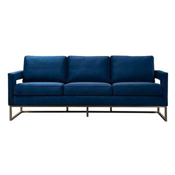 Kenza Three Seat Sofa – Blue (H95 x W220 x D75cm)