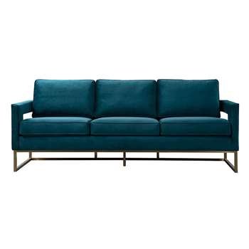 Kenza Three Seat Sofa  – Peacock (H96 x W220 x D75cm)