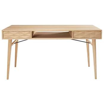 KEOPS French solid oak 2-drawer desk (77 x 130cm)
