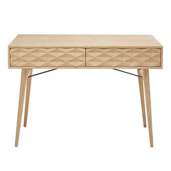 KEOPS Solid oak 2-drawer console table (80 x 115cm)