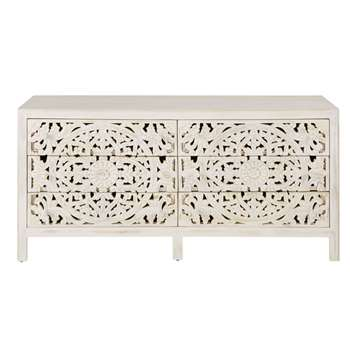 KERALA Carved double dresser in white with 6 drawers (H80 x W160 x D45cm)