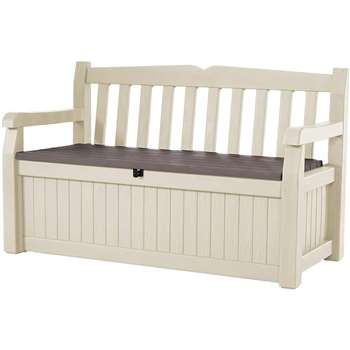 Keter Eden Garden Storage Bench 265L, Beige and Brown (H84 x W140 x D60cm)