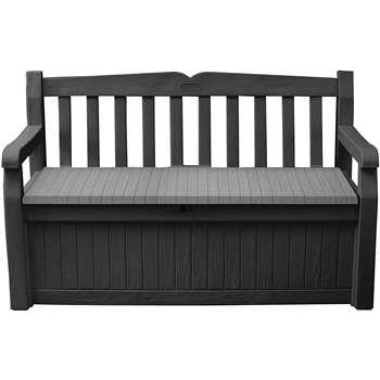 Keter Eden Garden Storage Bench, 265L, Graphite and Grey (H84 x W140 x D60cm)