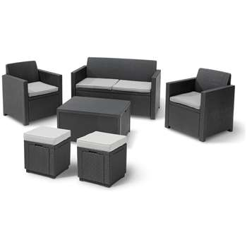 Keter Merano 6 Seater Rattan Effect Sofa Set with Storage at Argos